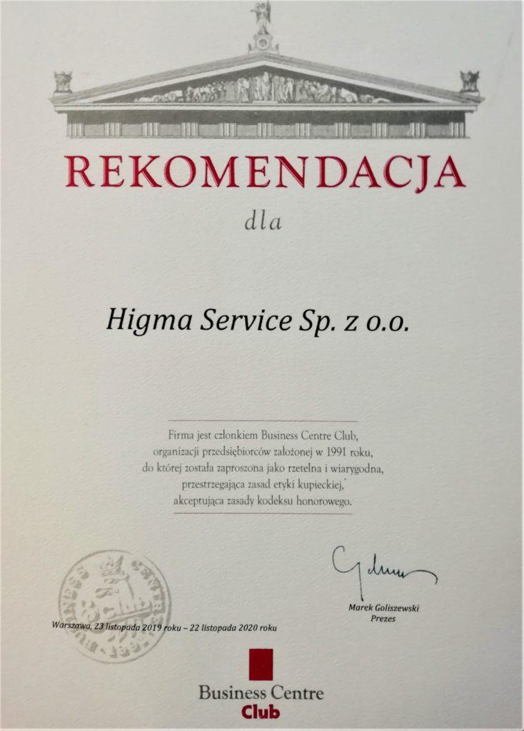 rekomendacja BCC dla Higmy Service